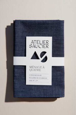 dark denim napkin set atelier saucier