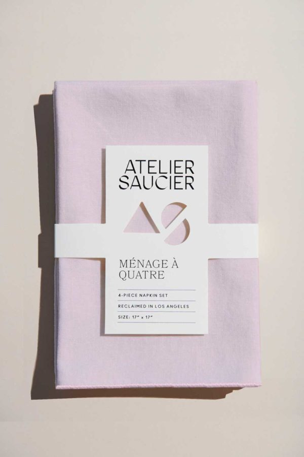 blush pink linen napkin set from atelier saucier