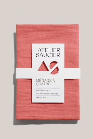 atelier saucier popsicle orange and pink linen napkin set