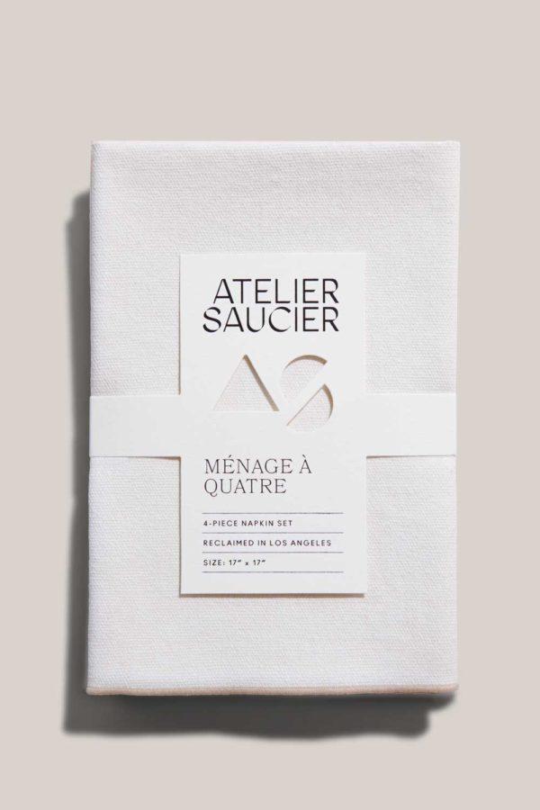 cream burlap linen napkin set by atelier saucier