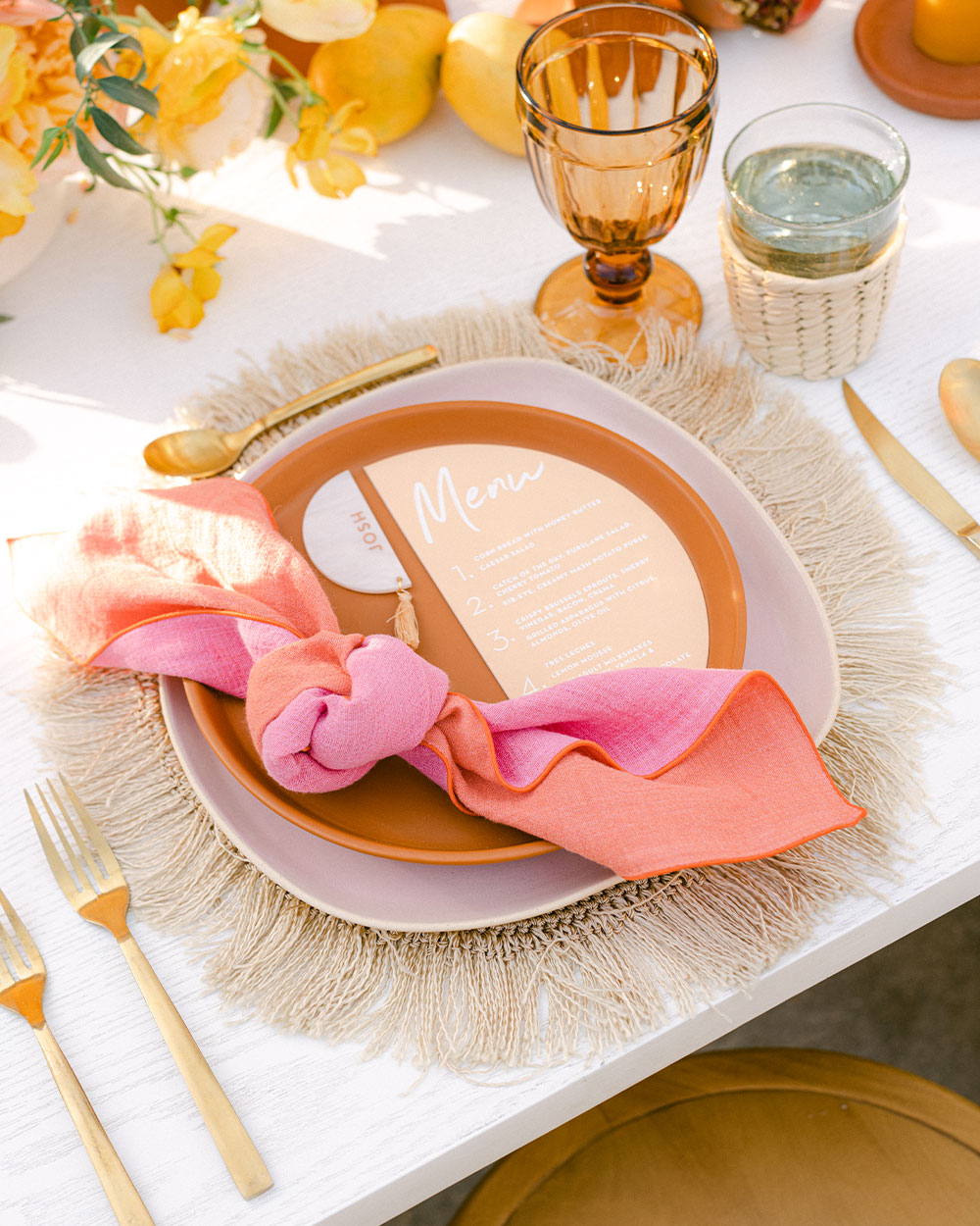 atelier saucier nikki reed's wedding in todos Santos Mexico pink and orange linen napkins