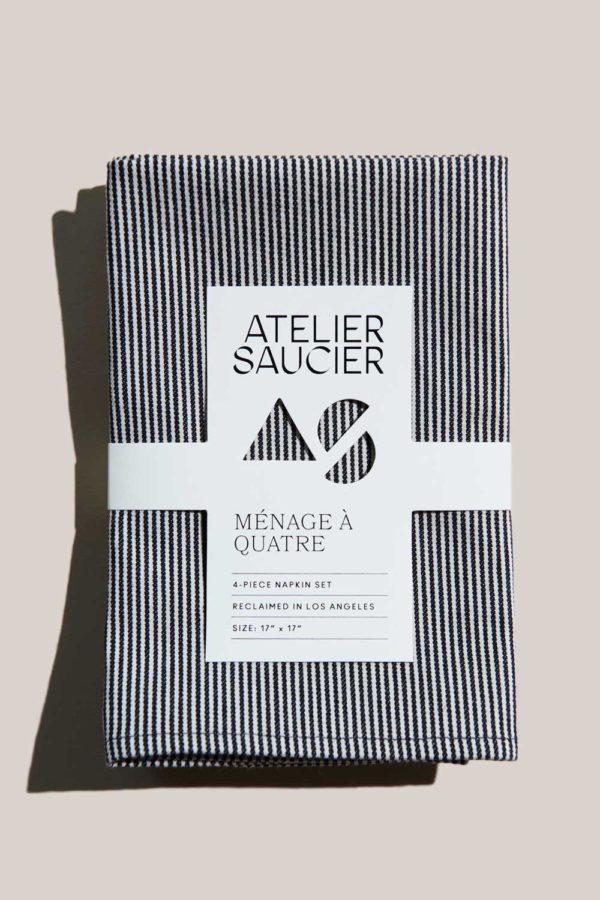 atelier saucier hickory stripe napkin set with indigo blue and white stripes