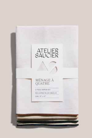 atelier saucier mojave burlap napkin set with copper, green, cream and black edging
