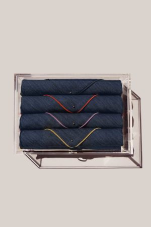 atelier saucier gift box set with rainbow denim linen napkins