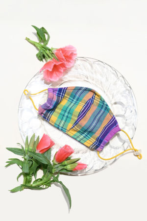 Atelier Saucier palisades plaid adjustable face mask with yellow straps