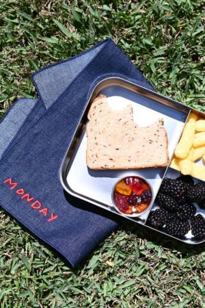atelier saucier lunch box denim linen napkins for back to school