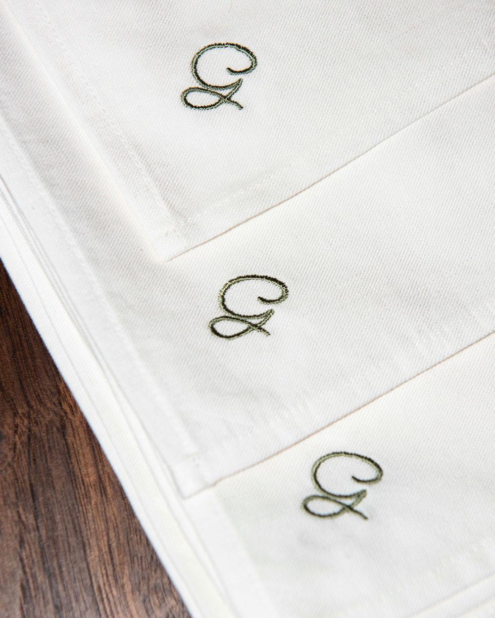 Gigis hollywood white napkins by atelier saucier